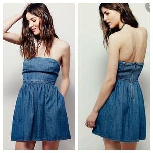 FREE PEOPLE Darling Denim Mini Dress